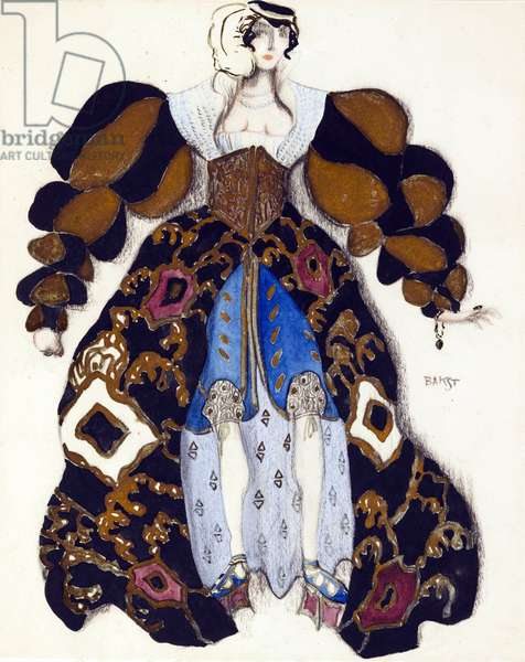 """Costume design for the Ballet """"""""La Legende de Joseph"""""""" by R. Strauss - Bakst, Leon (1866-1924) - 1914 - Watercolour, Gouache on Paper - 33x28 - Private Collection"""