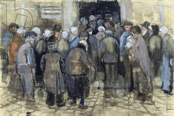 The Poor and Money (les pauvres et l'argent) par Gogh, Vincent, van (1853-1890). Chalk, watercolor, pen and ink on paper, size : 37,9x56,6, 1882, Van Gogh Museum, Amsterdam ©FineArtImages/Leemage
