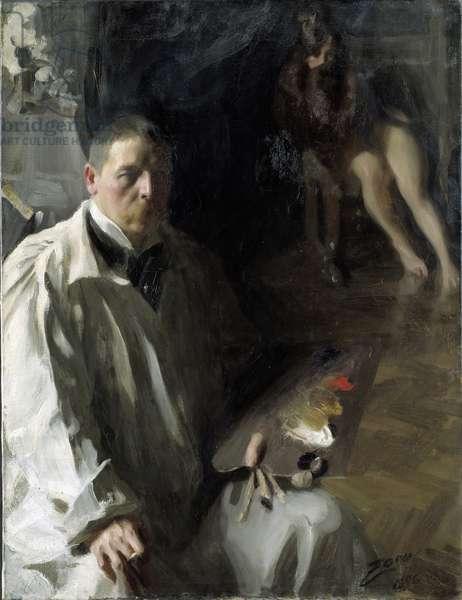 Self-portrait with Model par Zorn, Anders Leonard (1860-1920). Oil on canvas, size : 117x94, 1896, Nationalmuseum Stockholm