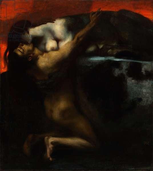 The Kiss of the Sphinx - Peinture de Franz Ritter von Stuck (1863-1928) - 1895 - Oil on canvas - 160x144,8 - Szepmuveszeti Muzeum, Budapest