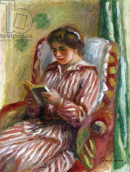 Gabrielle Reading - Peinture de Pierre Auguste Renoir (1841-1919), 1910 - Oil on canvas, 32,4x24,1 - Private Collection