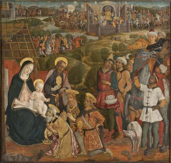 L'adoration des mages - The Adoration of the Magi, by Cozzarelli, Guidoccio di Giovanni (1450-1517). Tempera and Oil on canvas. Dimension : 168x176 cm. Nationalmuseum Stockholm