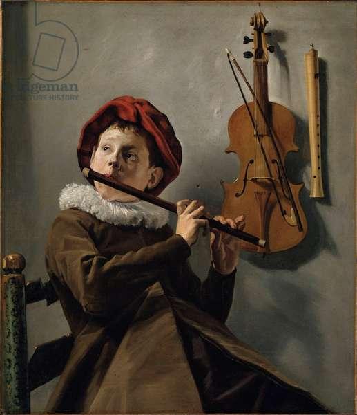 """""""""""Petit garcon jouant de la flute"""""""" (Boy playing the Flute) Peinture de Judith Leyster (1609-1660) vers 1630 - Oil on canvas - 73x62 - Nationalmuseum Stockholm"""