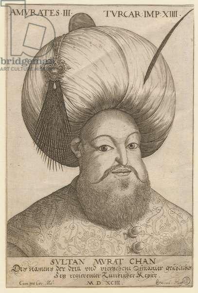 Portrait de Mourad III (1546-1595), sultan ottoman - Murad III (1546-1595), Sultan of the Ottoman Empire - Anonymous - 1593 - Etching - 18,5x12,3 - Private Collection