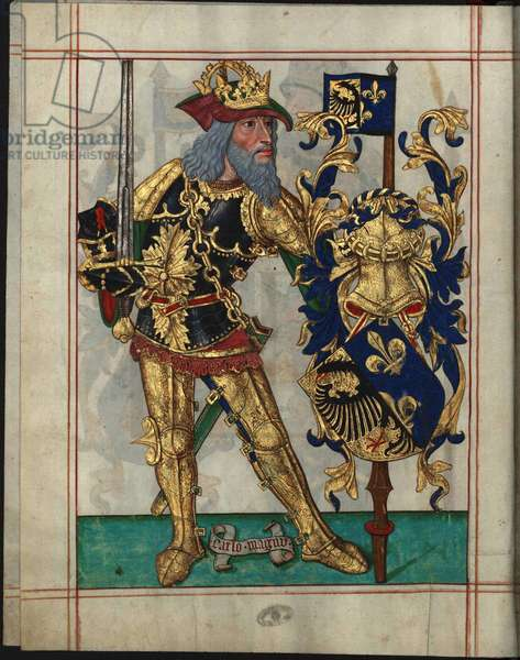 Charlemagne (742-814) - Charles the Great (From Livro do Ameiro-Mor) par Anonymous, 1509 - Watercolour on parchment - Arquivo Nacional da Torre do Tombo