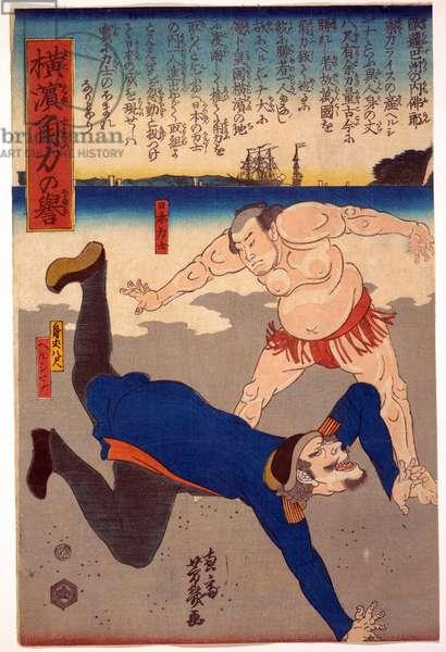 Lutteur sumo jetant un etranger - Sumo Wrestler Tossing a Foreigner par Yoshiiku, Utagawa (1833-1904). Colour woodcut, size : 36,2x23,8, 1861, Private Collection