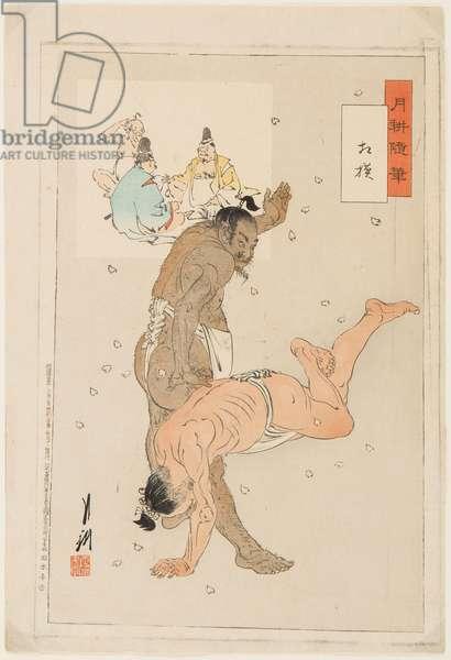 Combat de lutteurs de sumo. Estampe de Ogata Gekko (1859-1920), 1899 - Sumo Wrestlers in Action, by Gekko, Ogata (1859-1920). Colour woodcut, 1899. Dimension : 36,5x24,5 cm. Private Collection