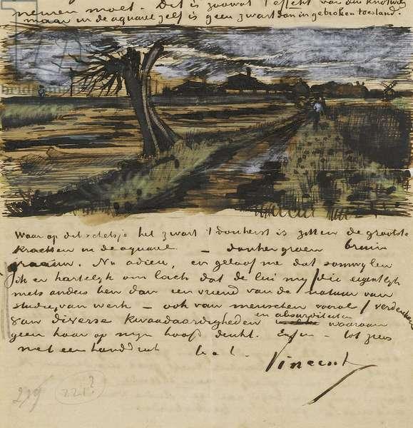 Pollard Willown (saule tetard). Letter to Theo van Gogh par Gogh, Vincent, van (1853-1890). Watercolour, Gouache on Paper, 1882, Van Gogh Museum, Amsterdam