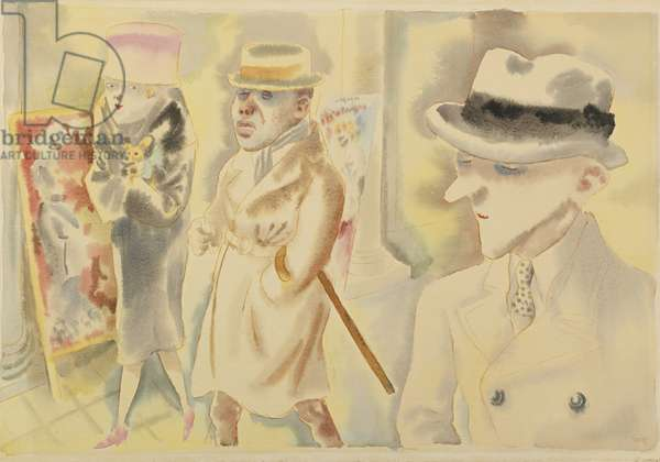 Street Scene, Berlin, Youth, Jellyfish, 1925 (watercolour and ink on paper)