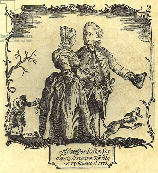 Luck Turns For You, Count Struensee! 1772 (woodcut)