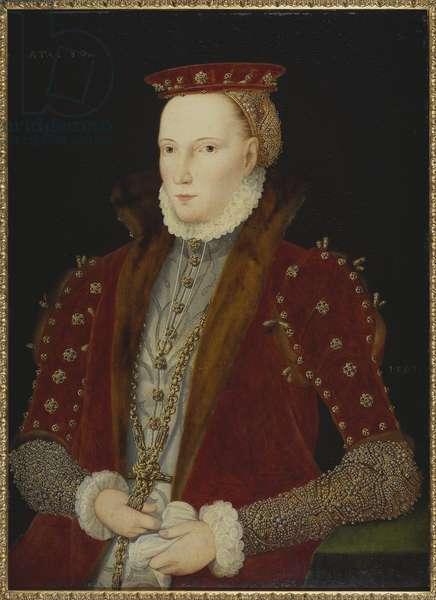 "Elisabeth I d'Angleterre (dit portrait Gripsholm)  - Portrait of Queen Elizabeth I of England (1533-1603) (""""The Gripsholm Portrait""""), Anonymous . Oil on wood, 1563. Dimension : 79x58 cm. Nationalmuseum Stockholm"