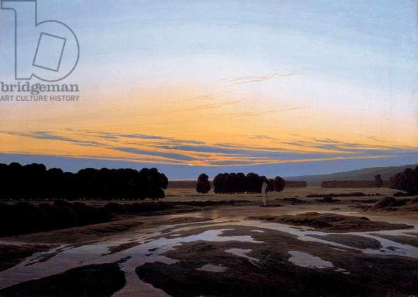 """""La grande reserve pres de Dresde, Allemagne"""" (The Grosse Gehege near Dresden) Peinture de Caspar David Friedrich (1774-1840) Dim 73,5x103 cm Oil on canvas 1832 State Art Gallery, Dresde"
