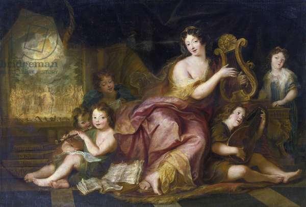 Portrait de Francoise d'Aubigne, marquise de Maintenon dit Madame de Maintenon (1635-1719) avec les enfants naturels de Louis XIV et de Madame de Montespan - Allegory of Music. Portrait of Madame de Maintenon (1635-1719), with the Natural Children of Louis XIV par Coypel, Antoine (1661-1722), - Oil on canvas, 98x152 - Private Collection
