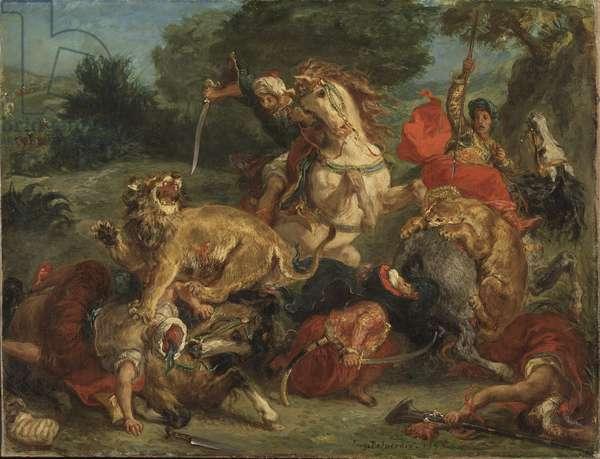 La chasse au lion - The Lion Hunt, by Delacroix, Eugene (1798-1863). Oil on canvas, 1855. Dimension : 57x74 cm. Nationalmuseum Stockholm