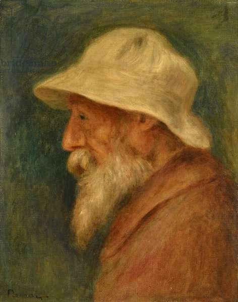 Self-portrait with white hat par Renoir, Pierre Auguste (1841-1919), 1910 - Oil on canvas - Private Collection