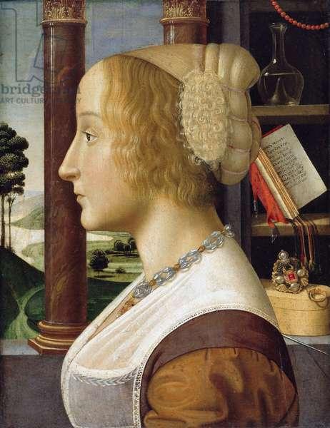 """""Portrait de profil de jeune femme"""" (Profile Portrait of a Young Woman) Peinture de Davide Ghirlandaio (1452-1525) vers 1490 Dim 44,6x34,3 - Staatliche Museen, Berlin"