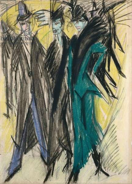 Berlin Street Scene - Oeuvre de Ernst Ludwig Kirchner (1880-1938) - 1914 - Coal with pastel on paper - 67,7x49,3 - Staedtische Galerie im Staedelschen Kunstinstitut, Frankfurt am Main