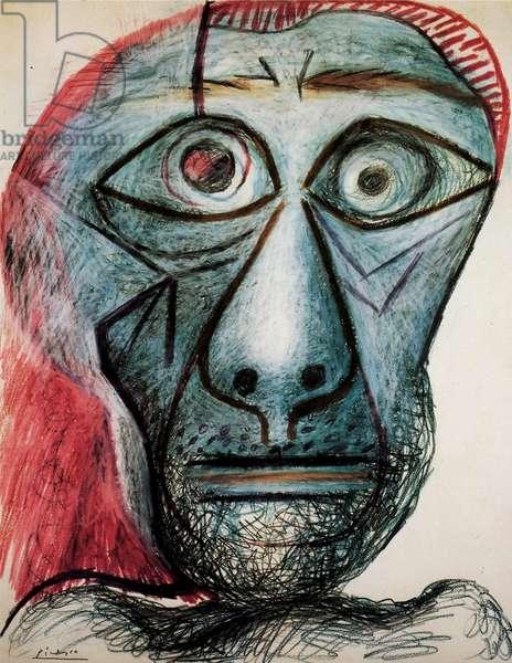 Self-portrait, 1972 (crayon on paper)