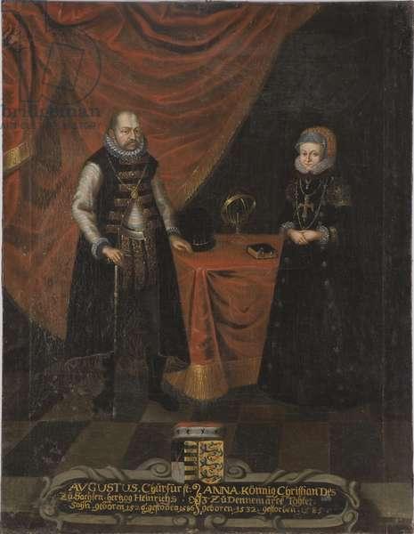 Auguste I, electeur de Saxe et princesse Anne du Danemark - Portrait of Augustus (1526-1586), Elector of Saxony and Anne of Denmark (1532-1585), Electress of Saxony, Anonymous . Oil on canvas. Dimension : 103x79,5 cm. Nationalmuseum Stockholm