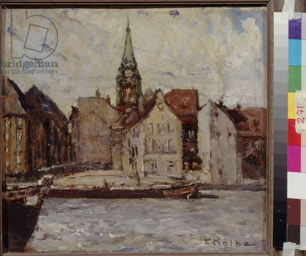 Neukoelln (New Coelln) by Kolbe, Ernst (1876-1945). Oil on cardboard, Dimension : 37,5x40. State A. Pushkin Museum of Fine Arts, Moscow