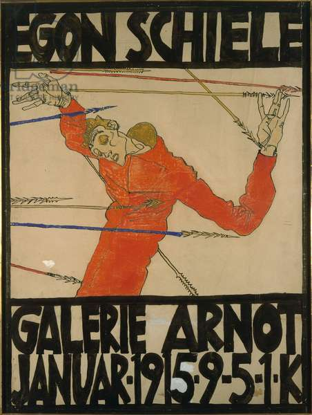 Self-portrait as Saint Sebastian, poster design for am exhibition at Galerie Arnot, 1914 (gouache, black crayon and ink on cardboard)