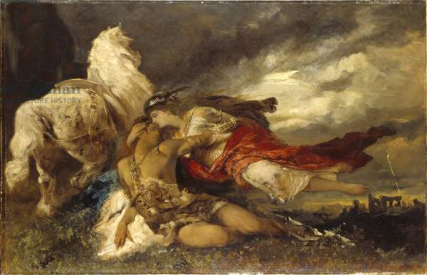 Valkyrie et un heros mourant - Valkyrie and a Dying Hero, by Makart, Hans (1840-1884). Oil on canvas. Dimension : 130x200 cm. Nationalmuseum Stockholm