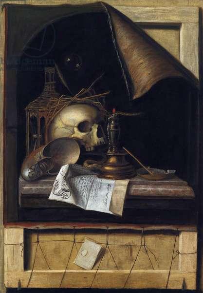 """""""""""Nature morte a la vanite"""""""" (Vanitas Still Life) Peinture de Cornelis Norbertus Gysbrechts ou Gijsbrechts (1630 - 1675) Oil on canvas Dim 89x62 cm Private Collection"""