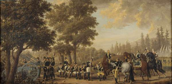 Le roi Gustave III de Suede (1746-1792) durant la guerre russo suedoise (1788-1790) - King Gustav III of Sweden in the Russo-Swedish War, by Hillestrom, Pehr (1732-1816). Oil on canvas, 1789. Dimension : 50x95 cm. Nationalmuseum Stockholm