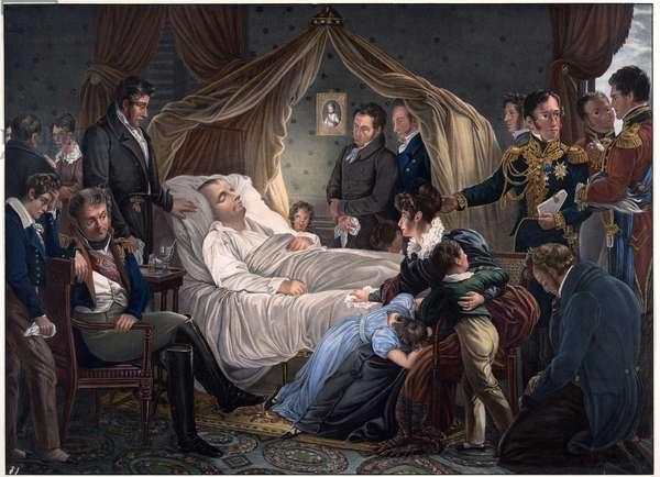 Death of Napoleon - Steuben, Charles de (1788-1856) - 1825 - Lithograph, watercolour - 52,4x71,8 - Private Collection