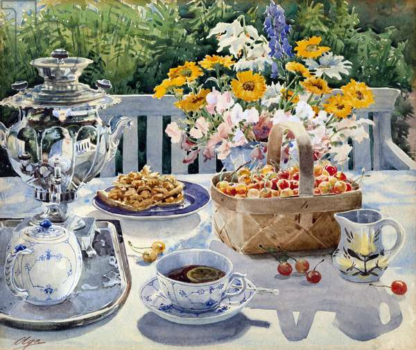 L'heure du the - Tea Time par Olga Alexandrovna of Russia, Grand Duchess (1882-1960), - Watercolour on paper, 29,5x34,5 - Private Collection