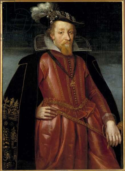 Jacques Stuart, Jacques VI roi d'Ecosse et Jacques I roi d'Angleterre et d'Irlande - Portrait of King James I of England (1566-1625), Anonymous . Oil on wood. Dimension : 115x86 cm. Nationalmuseum Stockholm