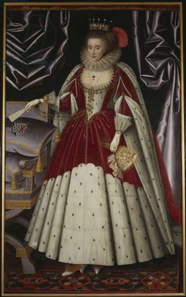 Lucy Russel, comtesse Bedford (nee Harington) - Portrait of Lucy Russell, Countess of Bedford (1580-1627), nee Harington, by Larkin, William (1580s-1619). Oil on canvas, 1600s. Dimension : 211x129 cm. Nationalmuseum Stockholm