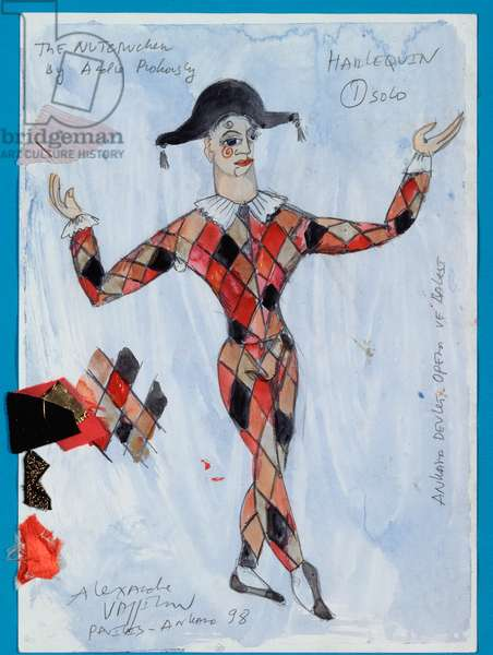 Costume design for a harlequin from Tchaikovsky's ballet 'The Nutcracker', 1998 (w/c & gouache on paper)