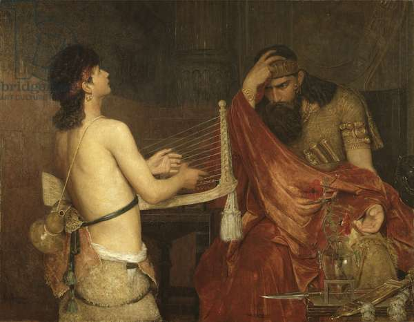 David et Saul - David and Saul, by Josephson, Ernst (1851-1906). Oil on canvas, 1878. Dimension : 110,5x144 cm. Nationalmuseum Stockholm