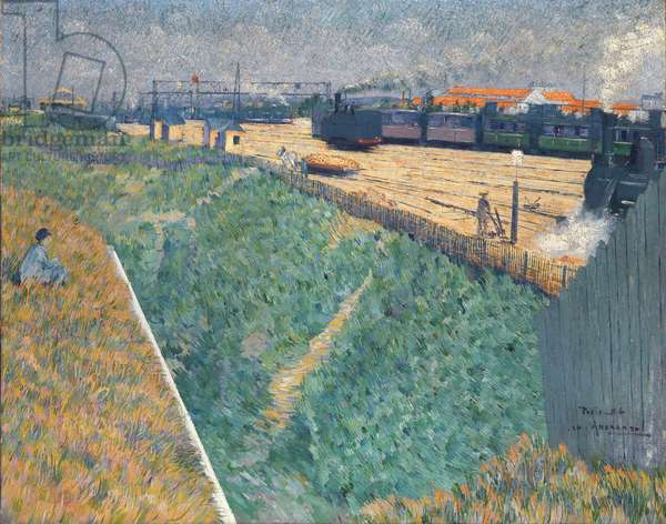 Angrand, Charles (1854-1926) The Western Railway at its Exit from Paris Oil on canvas 1886 National Gallery, London 73x92