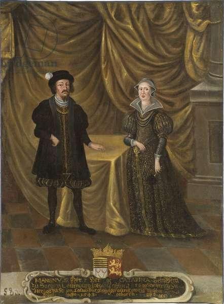 le prince Magnus I de Saxe Lauenbourg et la princesse Catherine de Brunswick Wolfenbuttel - Magnus I (1470-1543), Duke of Saxe-Lauenburg and Catherine of Brunswick-Wolfenbuettel (1488-1563), Duchess of Saxe-Lauenburg, Anonymous . Oil on canvas. Dimension : 101x75 cm. Nationalmuseum Stockholm