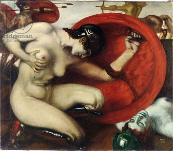 Amazone blessee - Wounded Amazon par Stuck, Franz, Ritter von (1863-1928). Oil on canvas, size : 62,8x72,7, 1905, Harvard University, Cambridge
