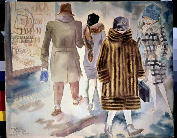In the Street, 1920 (w/c on paper)