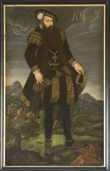 Gustave I Vasa de Suede - Portrait of the King Gustav I of Sweden (1496-1560), Anonymous . Oil on canvas. Dimension : 200x125 cm. Nationalmuseum Stockholm