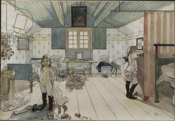 Chambre de petites filles - Small Girls' Room, by Larsson, Carl (1853-1919). Watercolour on paper. Dimension : 32x43 cm. Nationalmuseum Stockholm
