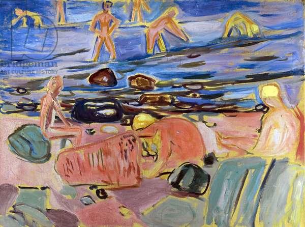 Garcons se baignant - Boys bathing par Munch, Edvard (1863-1944). Oil on canvas, size : 68x90, 1932-1933, Private Collection
