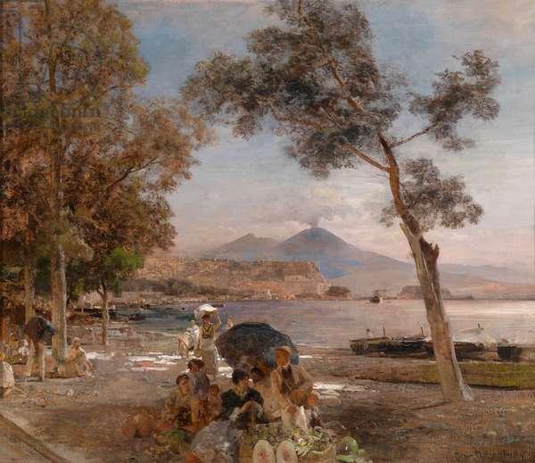 """""""""""Atmosphere de soiree sur la baie de Naples, Italie"""""""" (Evening mood at the Bay of Naples) Peinture d' Oswald Achenbach (1827-1905) - 1888 - Oil on canvas - Dim 52x60 cm Private Collection"""