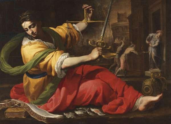 Allegorie de la Justice - Allegory of Justice, by Mei, Bernardino (1612-1676). Oil on canvas, 1656. Dimension : 114,5x156 cm. Nationalmuseum Stockholm