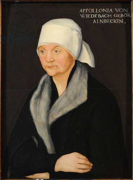 Portrait of Apollonia von Wiedebach, by Cranach, Lucas, the Elder (1472-1553). Oil on wood, ca 1524. Dimensions: 38.7 x 28.7 cm. Dresden State Art Collections