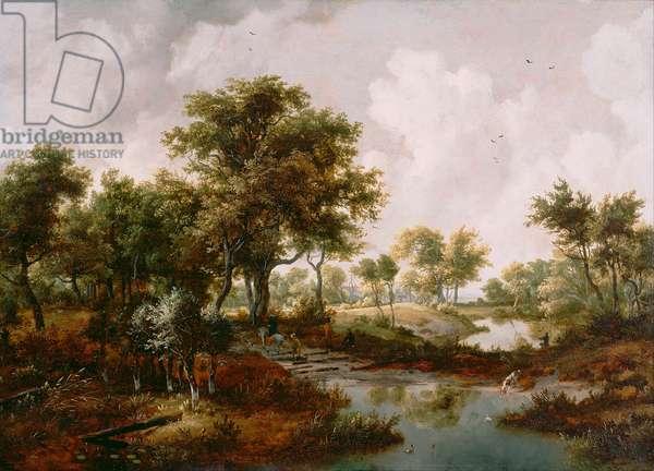 """""""""""Paysage de bois"""""""" (A Wooded Landscape) Peinture de Meindert Hobbema (1638-1709) - 1667 - Oil on wood - Dim 61x85,1 cm J Paul Getty Museum, Los Angeles"""