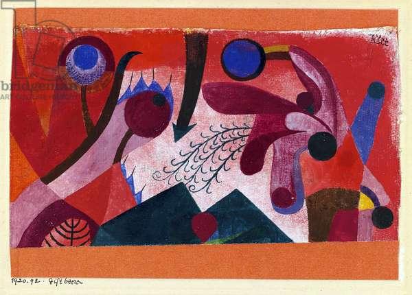 """""""""""Baies toxiques"""""""" (Poisonous Berries) Aquarelle de Paul Klee (1879-1940) 1920 Dim 15,4x22,2 cm Private Collection"""