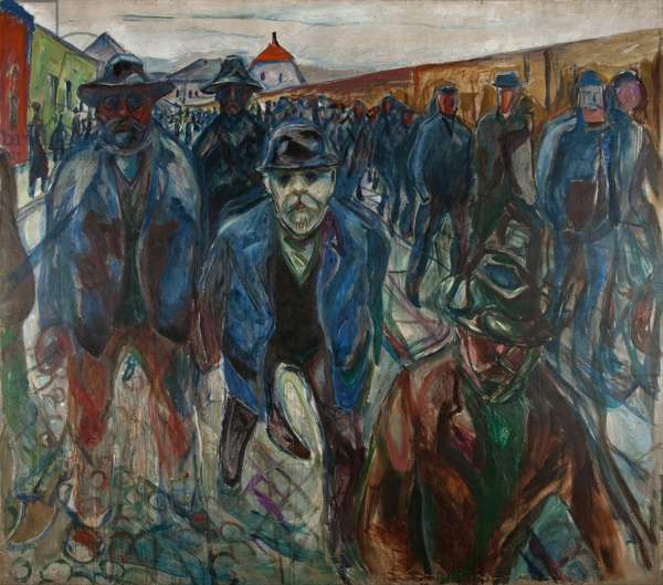 Workers on their Way Home par Munch, Edvard (1863-1944). Oil on canvas, size : 227x201, 1913-1914, Munch Museum, Oslo