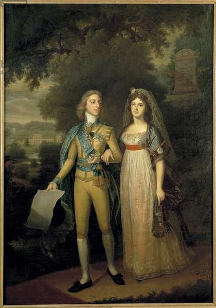 Gustave IV Adolphe de Suede - Portrait of Gustav IV Adolf of Sweden (1778-1837) and Frederica Dorothea Wilhelmina of Baden (1781-1826), Queen of Sweden, by Forsslund, Jonas (1754-1809). Oil on canvas, c. 1797-1800. Dimension : 273x195 cm. Nationalmuseum Stockholm