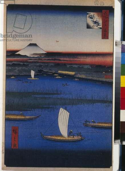 Cent vues celebres d'Edo : Mitsumata Wakarenofuchi (One Hundred Famous Views of Edo) - Hiroshige, Utagawa (1797-1858) - 1856-1858 - Colour woodcut - State Hermitage, St. Petersburg