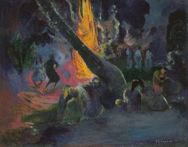 Upa upa, la danse du feu - Upa upa (The Fire Dance), by Gauguin, Paul Eugene Henri (1848-1903). Oil on canvas, 1891. Dimension : 72,6x92,3 cm. Israel Museum, Jerusalem